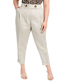 Plus Size Linen Slim-Ankle Pants
