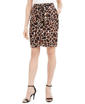 Giraffe-Print Tie-Belt Pencil Skirt