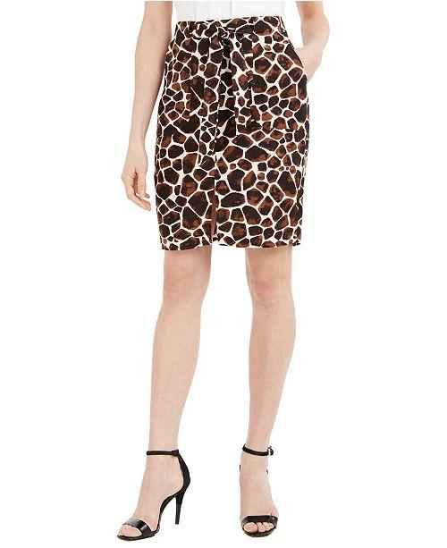 Calvin Klein Giraffe-Print Tie-Belt Pencil Skirt