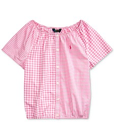 폴로 랄프로렌 걸즈 탑 Polo Ralph Lauren Big Girls Mixed-Gingham Cotton Top,Pink Multi