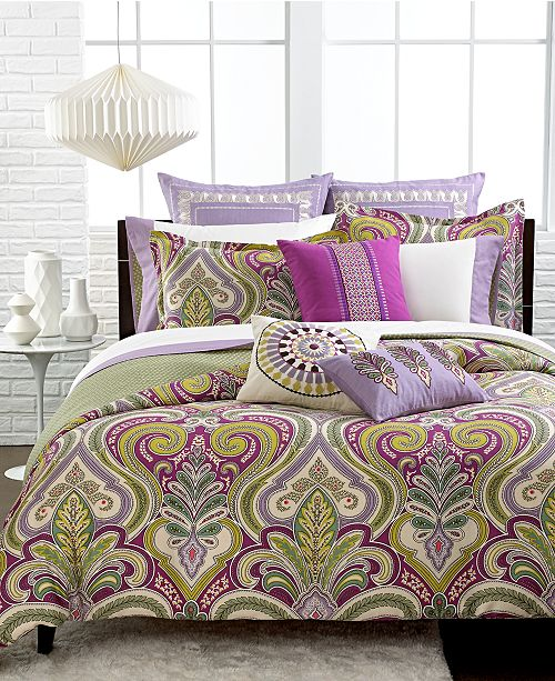 Echo CLOSEOUT! Vineyard Paisley Reversible Bedding Collection, Thread Count 300 100% Cotton