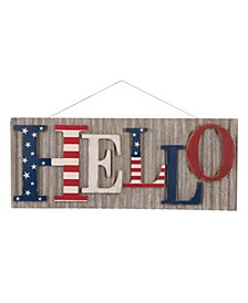 "36.10""L Metal-Wooden Patriotic Hello Wall Decor"