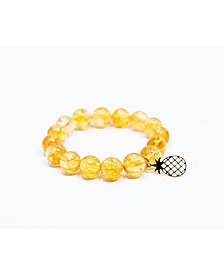 Sunny Citrine Gem Single with Pineapple Accent Bracelet