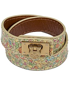 Gold-Tone Rose-Print Leather Double Wrap Bracelet