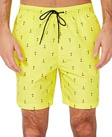 "Men's Quick-Dry Anchor-Print 8"" Swim Trunks"
