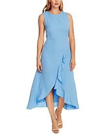 Rumple Twill Flutter-Hem Dress