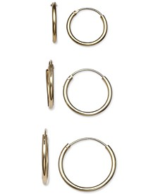 3-Pc. Set Small Endless Hoop Earrings in 18k Gold-Plated Sterling Silver, Created for Macy's