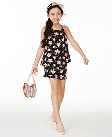 Big Girls Floral-Print Challis Top & Shorts Separates, Created for Macy's