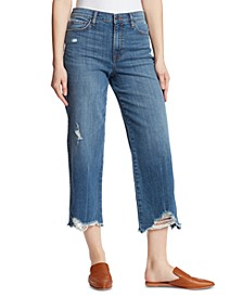 Destroyed-Hem Wide-Leg Jeans