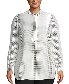Plus Size Florentine Dot-Print Top
