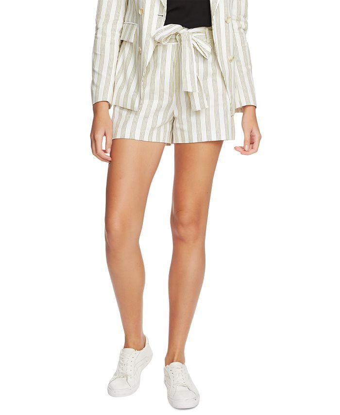 1.STATE - Striped Cotton Tie-Waist Shorts