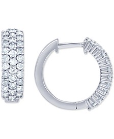 Diamond Pavé Small Huggie Hoop Earrings (1 ct. t.w.) in 14k White Gold, 3/5""