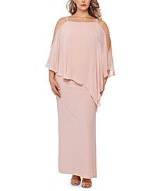Plus Size Embellished Chiffon-Overlay Gown