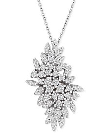 "Diamond Cluster 18"" Pendant Necklace (1 ct. t.w.) in 14k White Gold, Created for Macy's"