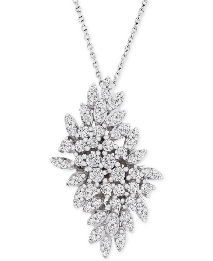 """Wrapped in Love - Diamond Cluster 20"""" Pendant Necklace (1 ct. t.w.) in 14k White Gold"""