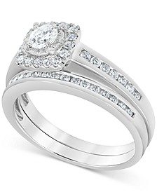 Diamond Halo Bridal Set (3/4 ct. t.w.) in 14k White Gold