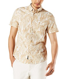 Men's Slim-Fit Fern Print Alpha Icon Short Sleeve Shirt