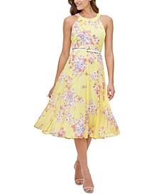 Belted Floral-Print Chiffon Halter Dress