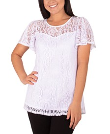 Lace Flutter-Sleeve Top