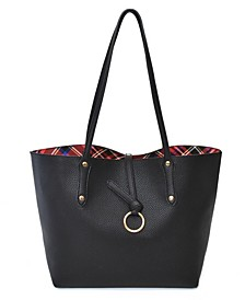 Inside Plaid Pattern Reversible Tote