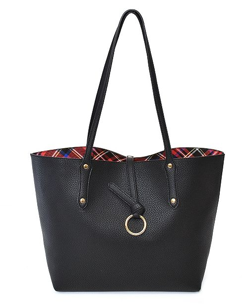 Imoshion Handbags Inside Plaid Pattern Reversible Tote