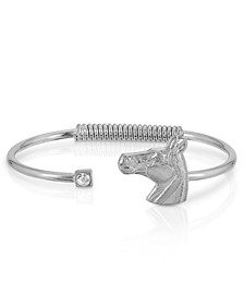 Silver-Tone Clear Crystal and Horse Accent Hinge Bracelet
