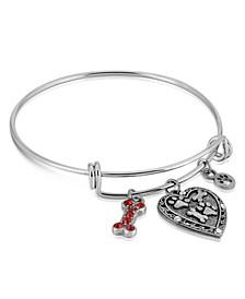 Pewter Heart Bone Paw Print Charm Bracelet