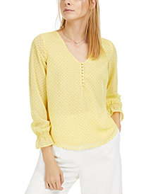 Maison Jules Printed Ruffled-Cuff Top, Created for Macy's