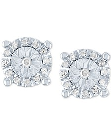 Diamond Halo Stud Earrings (1/10 ct. t.w.) in Sterling Silver
