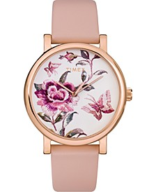 Women's Full Bloom Pink Leather Strap Watch 38mm