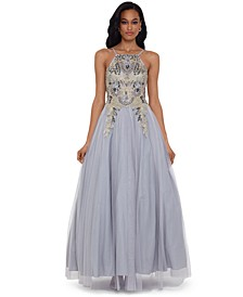 Embellished-Bodice Ball Gown