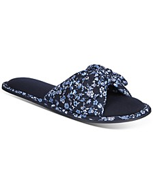 Floral-Print Open-Toe Knot Slippers, Created for Macy's