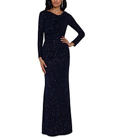 Cowlneck Metallic Glitter Gown