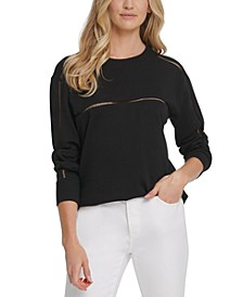 Cutout-Trim Crewneck Sweatshirt