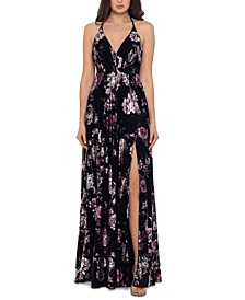 Floral-Print Open-Back Gown