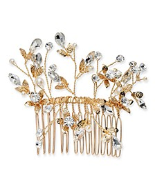 INC Gold-Tone Crystal & Pearl Flower Wire Hair Comb, Created for Macy's