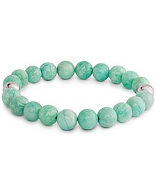 Amazonite (6mm) Bead Stretch Bracelet in Sterling Silver