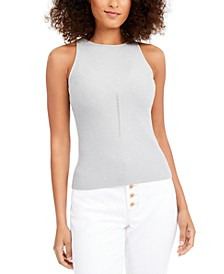 INC Petite Ribbed Metallic Halter Top, Created for Macy's