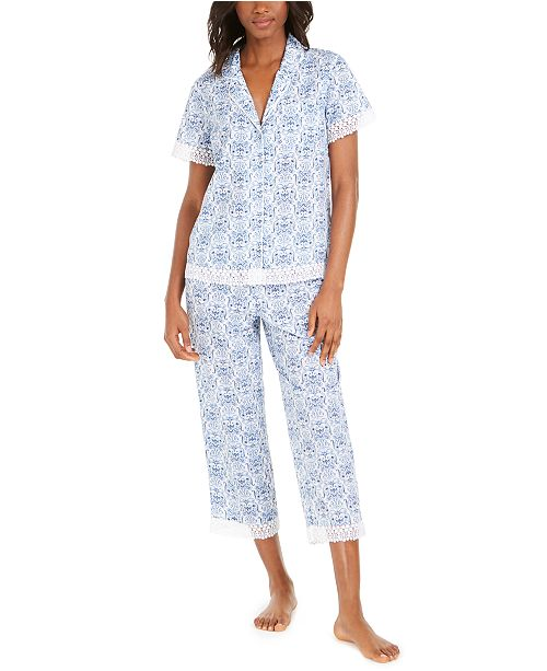 Charter Club Cotton Lace-Trim Printed Capri Pants Pajamas Set, Created for Macy's