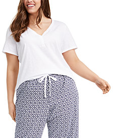 Charter Club Plus Size Cotton Sleep T-Shirt, Created for Macy's