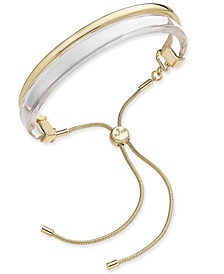 Two-Tone Curved Bar Bolo Bracelet, Created for Macy's
