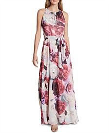Floral-Print Keyhole Gown