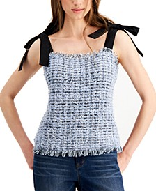 INC Tweed Bow-Strap Tank Top, Created For Macy's