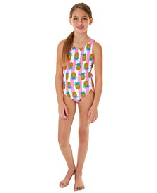 Big Girls 1-Pc. Pineapple Cut-Out Swimsuit