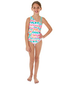 Big Girls 1-Pc. Neon-Print One-Shoulder Swimsuit