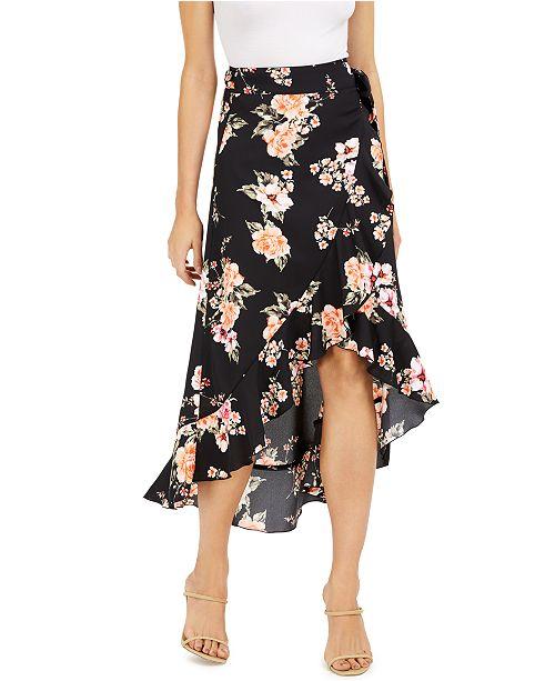 Bar III Floral-Print Wrap Skirt, Created for Macy's