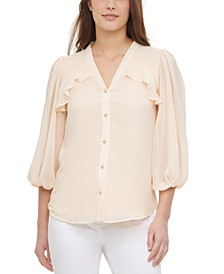 Ruffled-Front Blouse