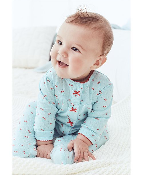 Carter's Baby Girls Cotton Cherry-Print Pointelle Coverall