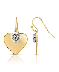 14K Gold-Dipped and Clear Crystal Heart Earrings