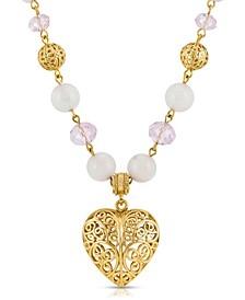 Semi-Precious Rose Quartz Filigree Heart Pendant Necklace
